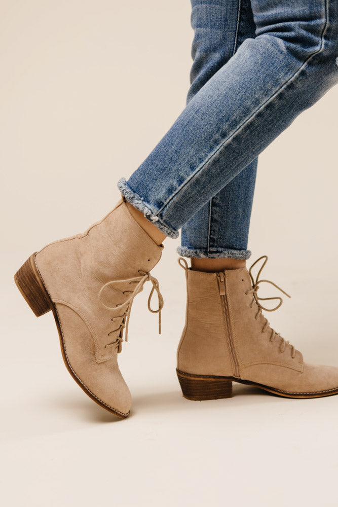 Cassandra Lace-Up Boots in Nude - Bohme