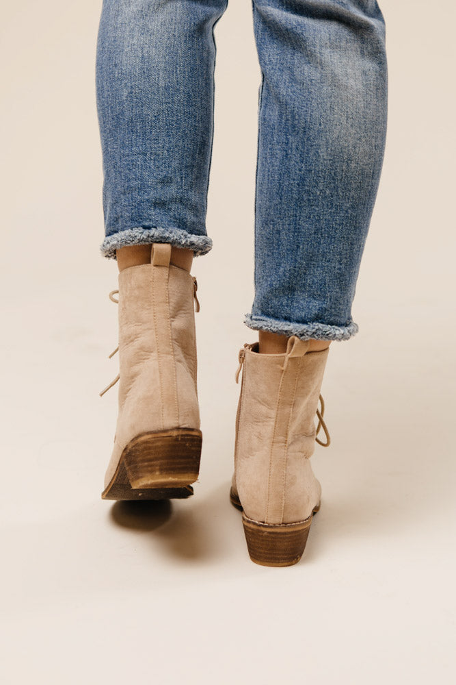 Cassandra Lace-Up Boots in Nude - FINAL SALE