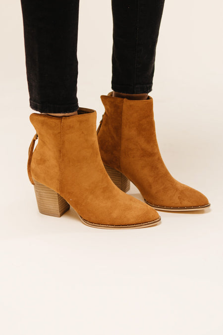 Weslee Suede Booties in Tan-FINAL SALE