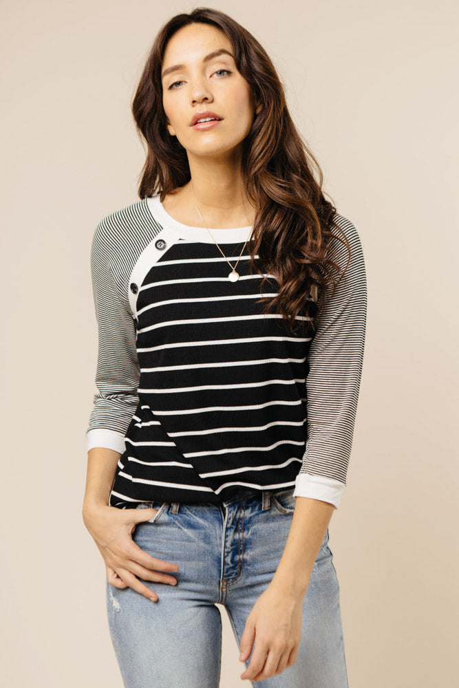 striped long sleeve top bohme