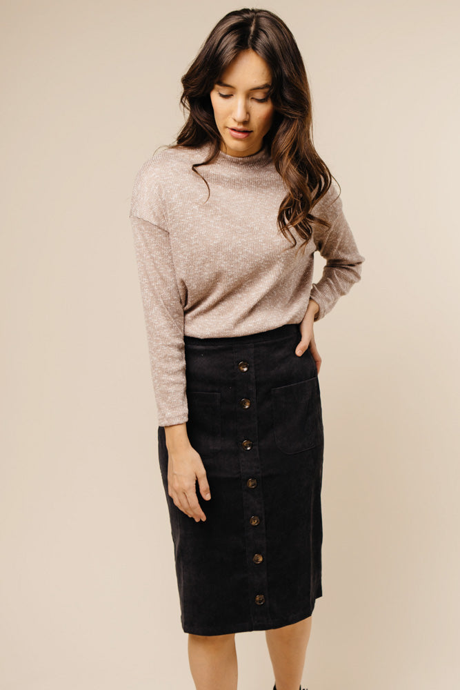 Pencil Me In Button Down Skirt in Black Bohme