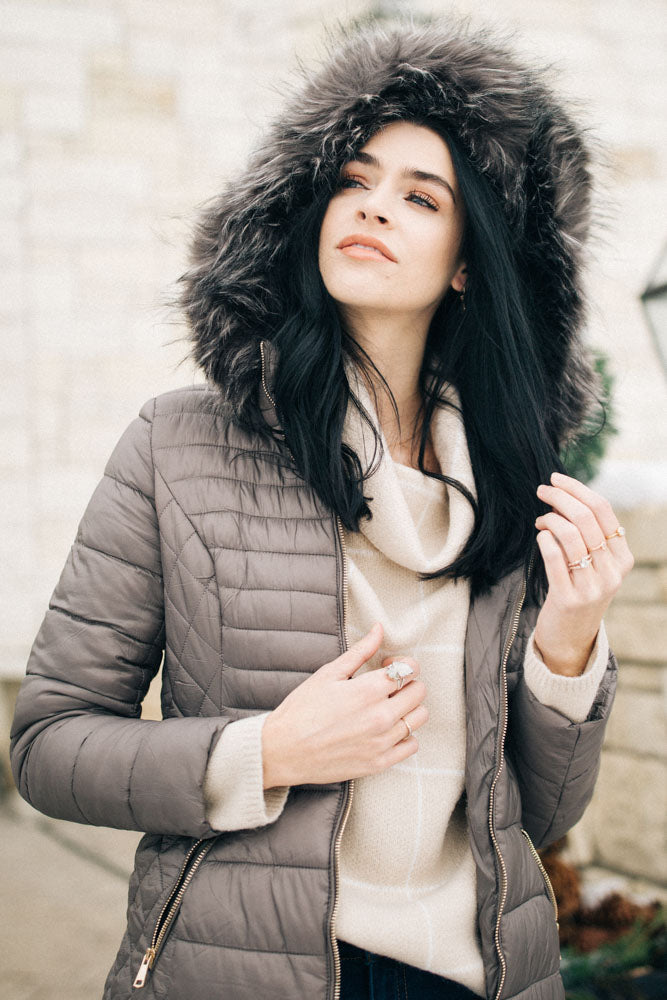 fur trim hood coat