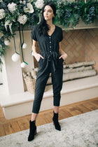 Stripe a Pose Belted Jumpsuit Bohme