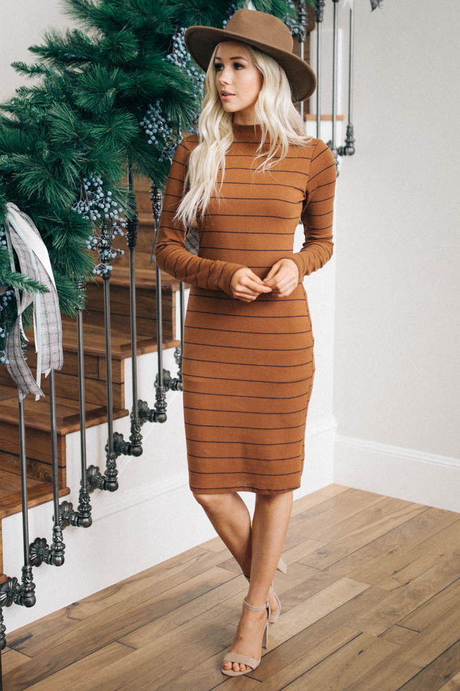 Abby Striped Mock Neck Dress - FINAL SALE