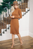 Abby Striped Mock Neck Dress - Bohme