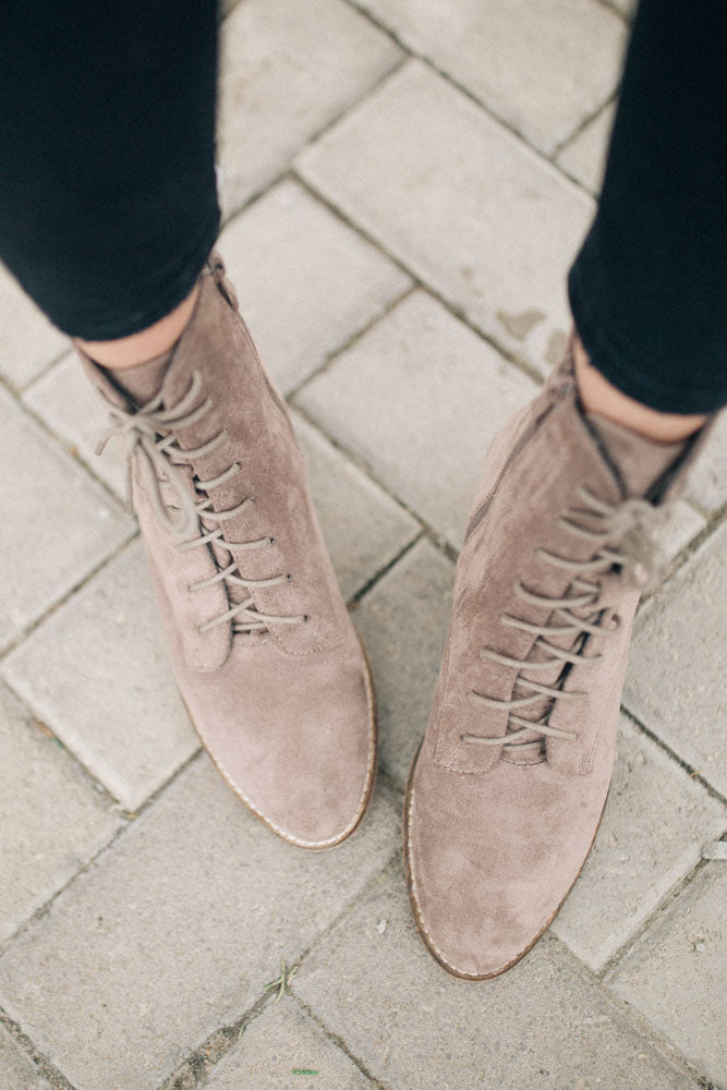 Cassandra Lace-Up Boots in Grey - FINAL SALE