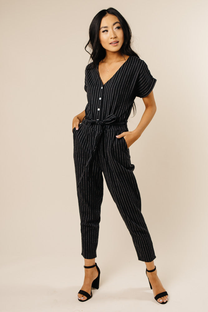 Stripe a Pose Belted Jumpsuit