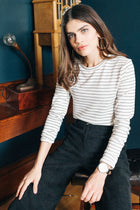 Nikki Long Sleeve Striped Crew Neck Top in Black-FINAL SALE