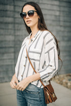 All Types of Stripes Button Down Top