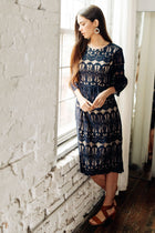 Nina Midi Navy and Nude Lace Dress bohme