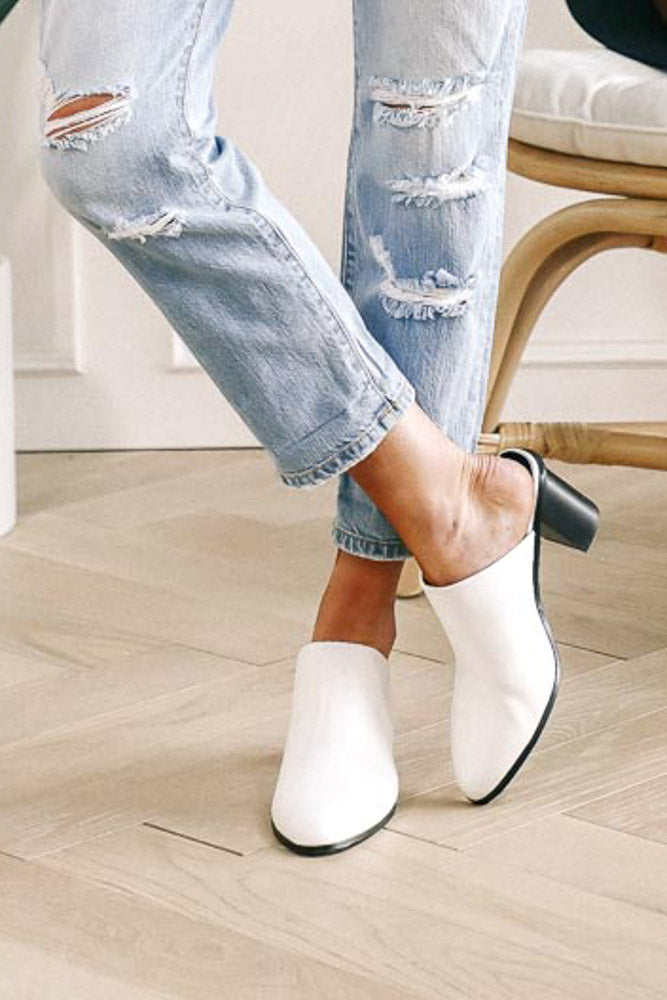 Rail Heeled Mules in White - FINAL SALE