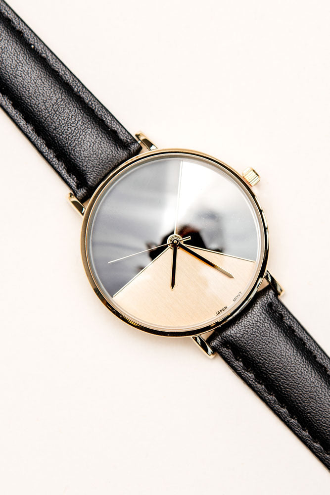 black leather watch bohme