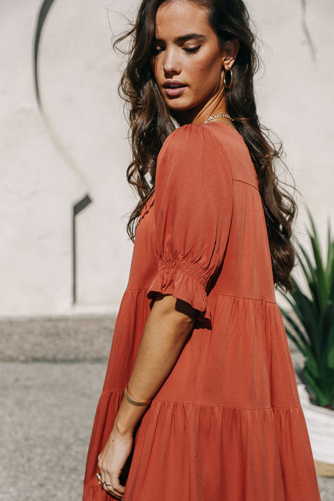 Sunshine Tiered Midi Dress in Rust