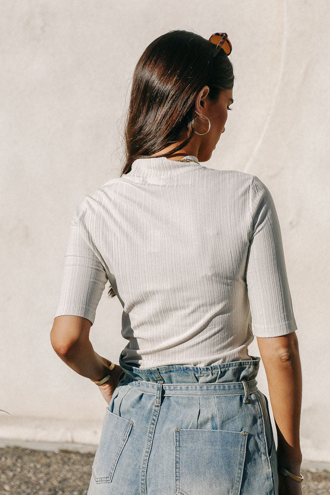 Ribbed Mock Neck Top in Ivory