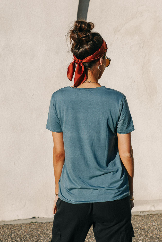Essentials V Neck Tee in Teal