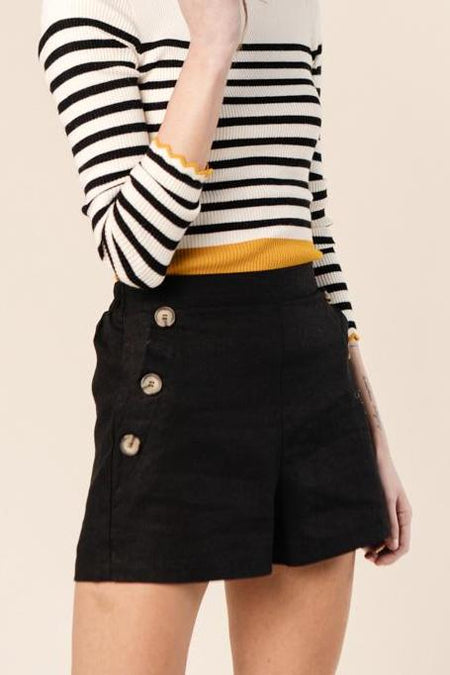Sam Button Side Shorts in Black - FINAL SALE