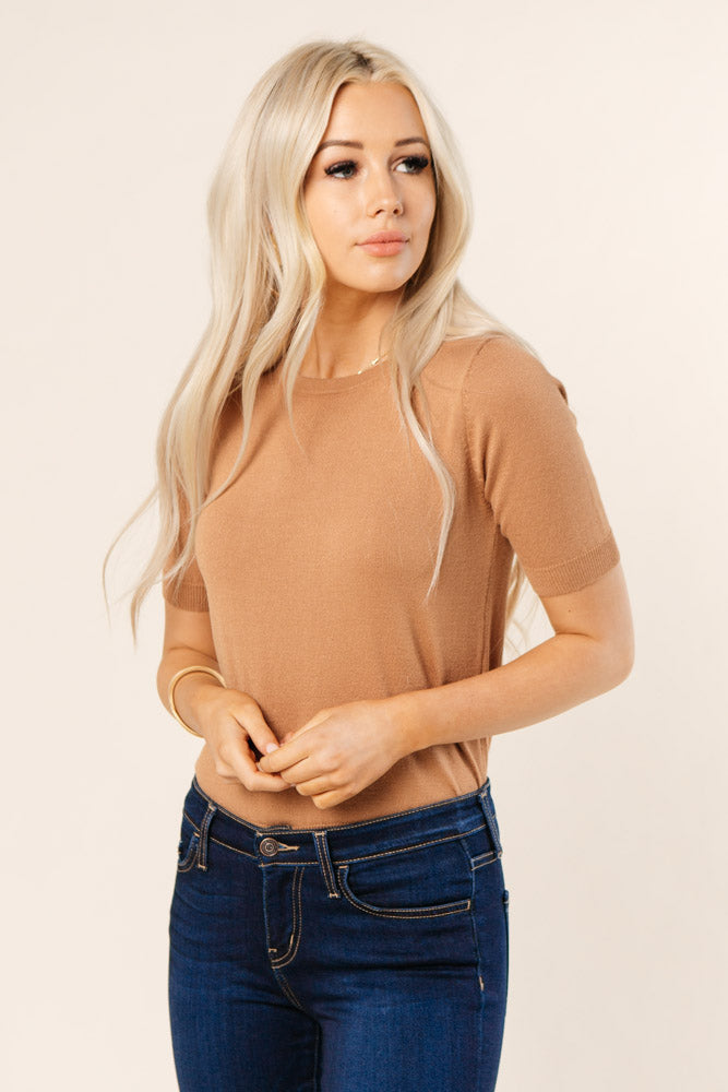 Daily Prep Short Sleeve Sweater in Camel