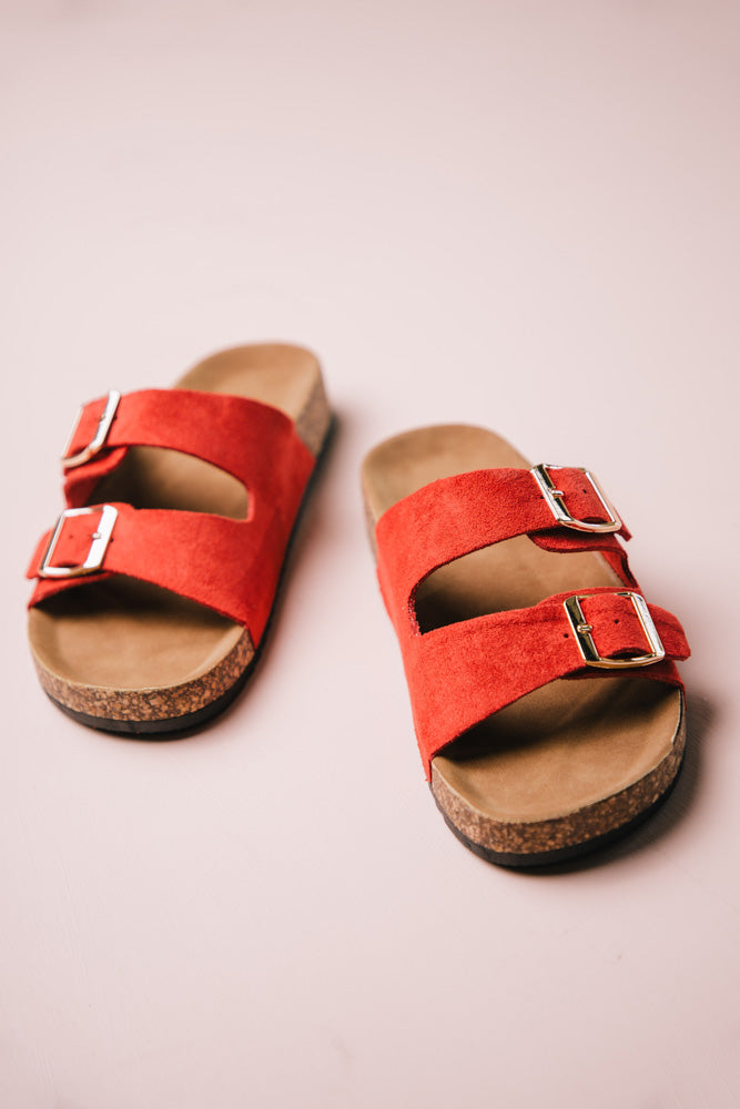 Buckle Sandals in Red