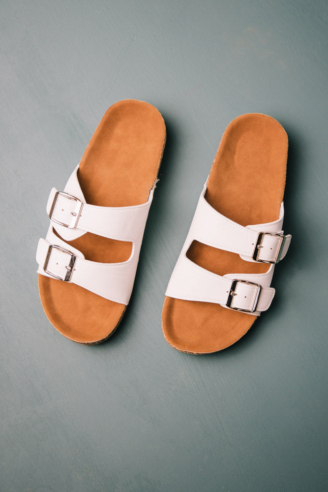 Buckle Sandals in White
