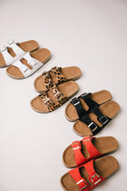 Buckle Sandals in Leopard