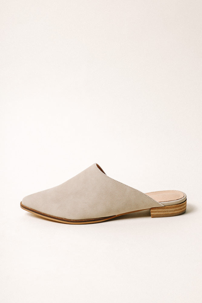 Sangria Asymmetrical Mules in Taupe