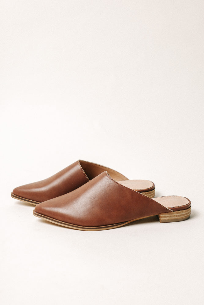 Sangria Asymmetrical Mules in Brown