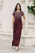 Myla Lace Maxi Dress in Burgundy