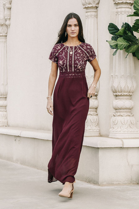 Myla Lace Maxi Dress in Burgundy FINAL SALE