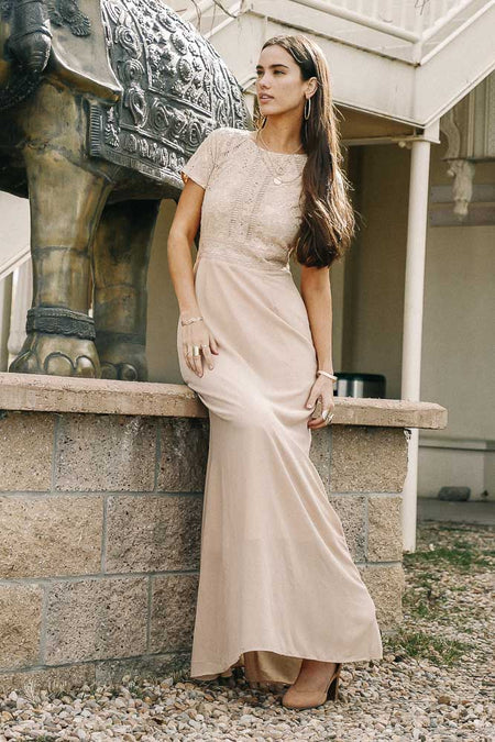 Myla Lace Maxi Dress in Taupe