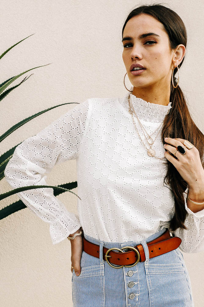 Heartlands Eyelet Mock Neck Top