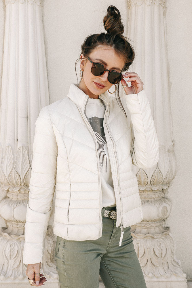 Vero Moda Danielle Puffer Jacket in Cream
