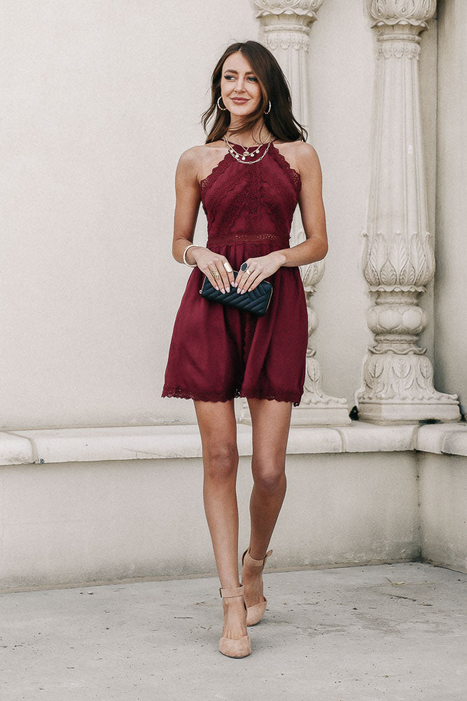 Hailey Lace Halter Dress in Wine