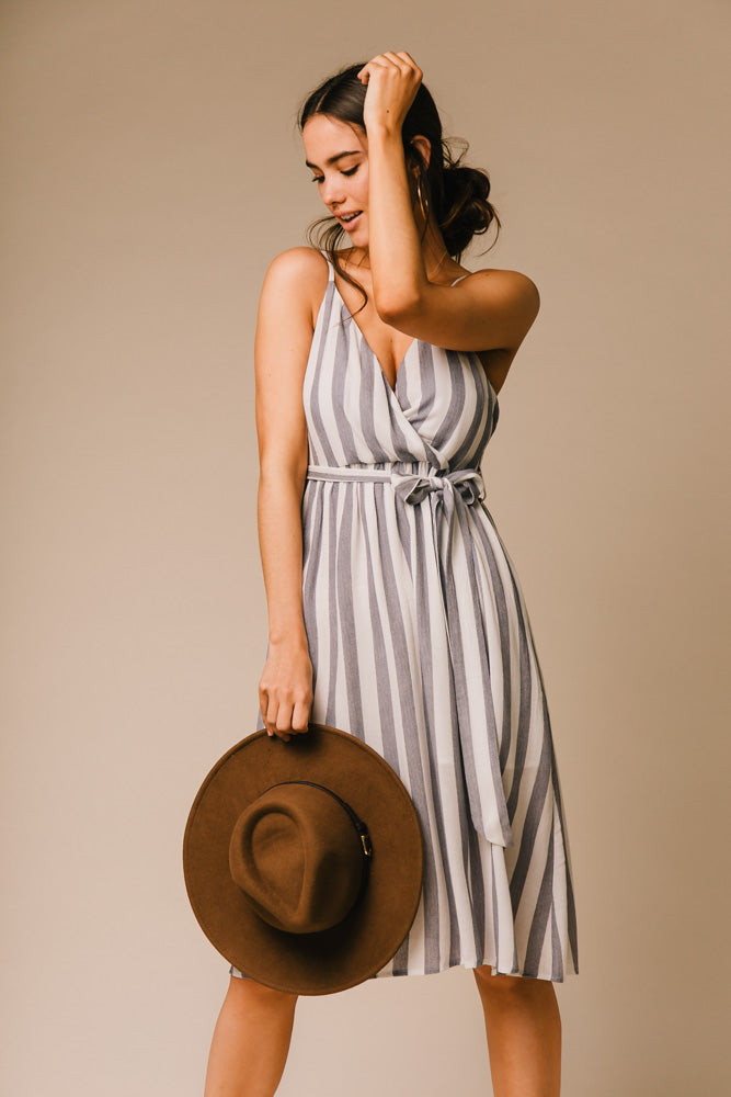 striped v neck dress bohme