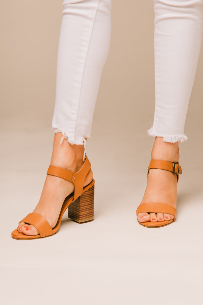 Tess Ankle Strap Heel in Tan