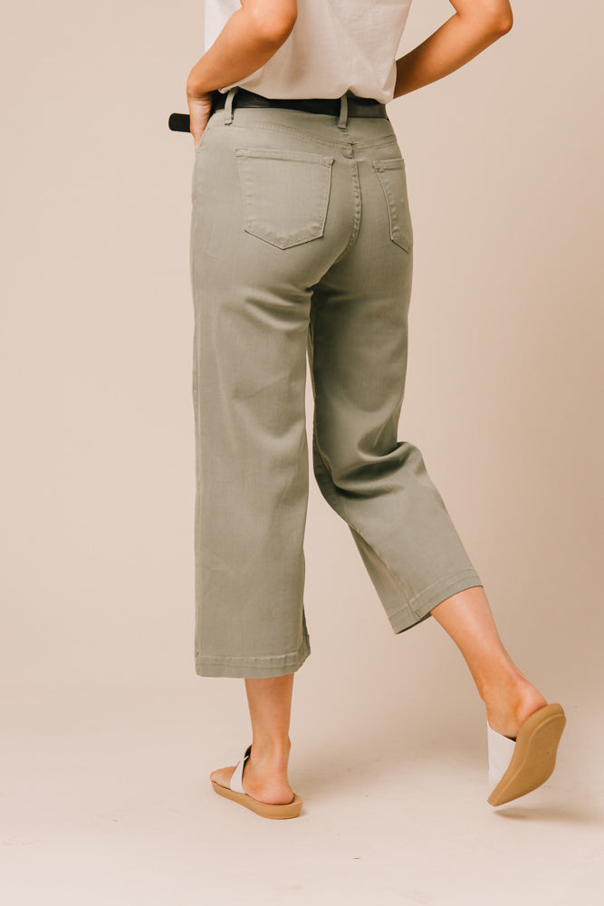green wide leg pants bohme