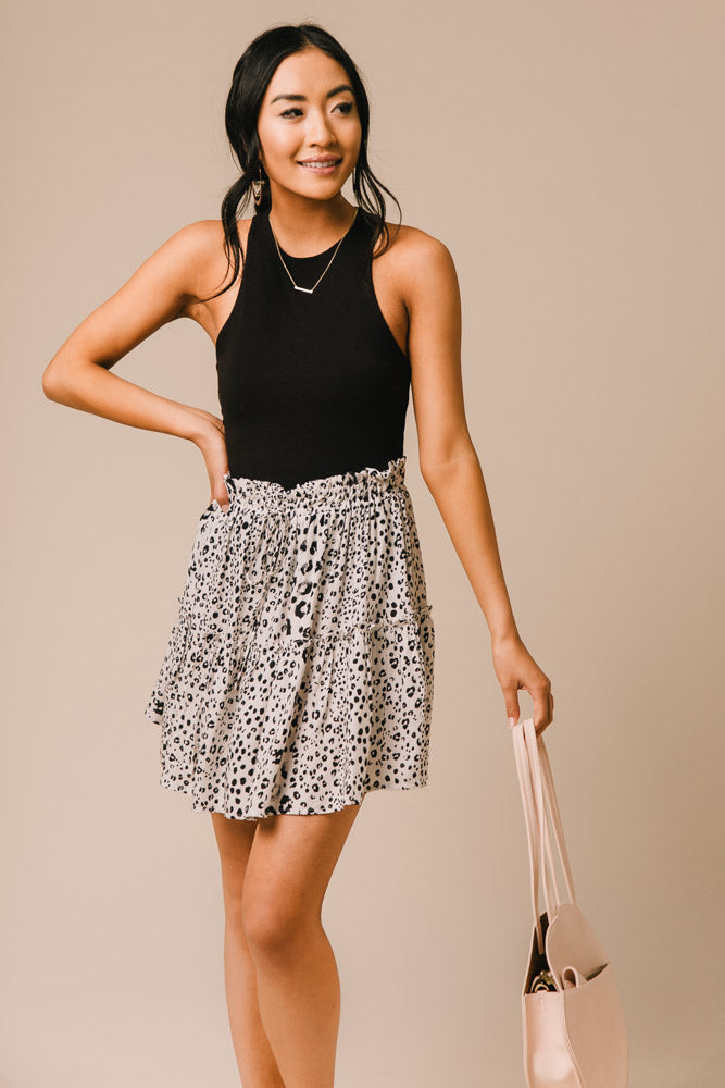 white printed skirt bohme