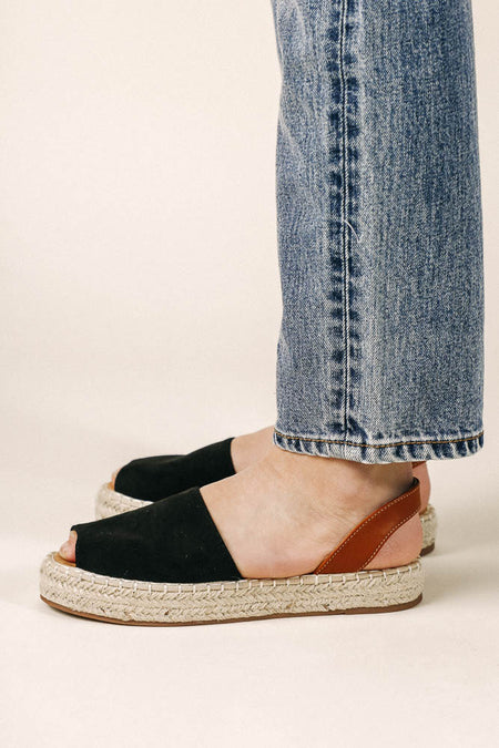 Olivia Espadrille Sandals in Black - FINAL SALE
