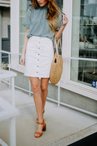 Kingsley Corduroy Button Skirt in White