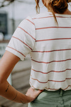 Wesley Stripe Pocket Tee in Rust