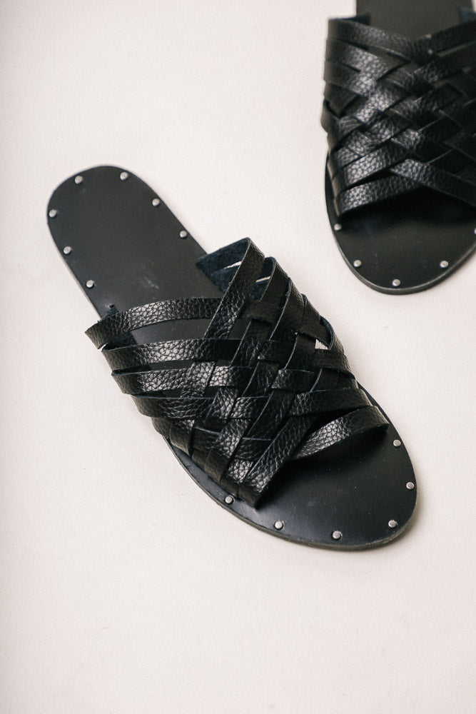 Eli Woven Sandals in Black