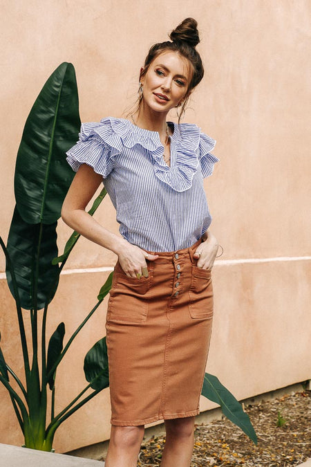 Flying Monkey Button Fly Skirt in Rust