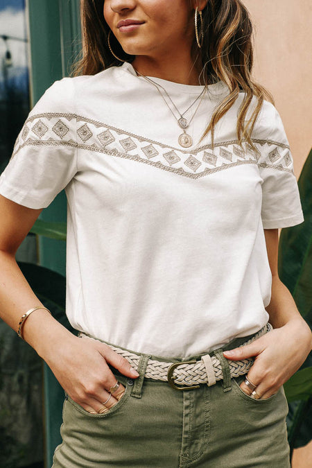 Morocco Embroidered Tee in Taupe