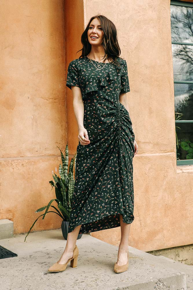 Green Forest Ruched Dress