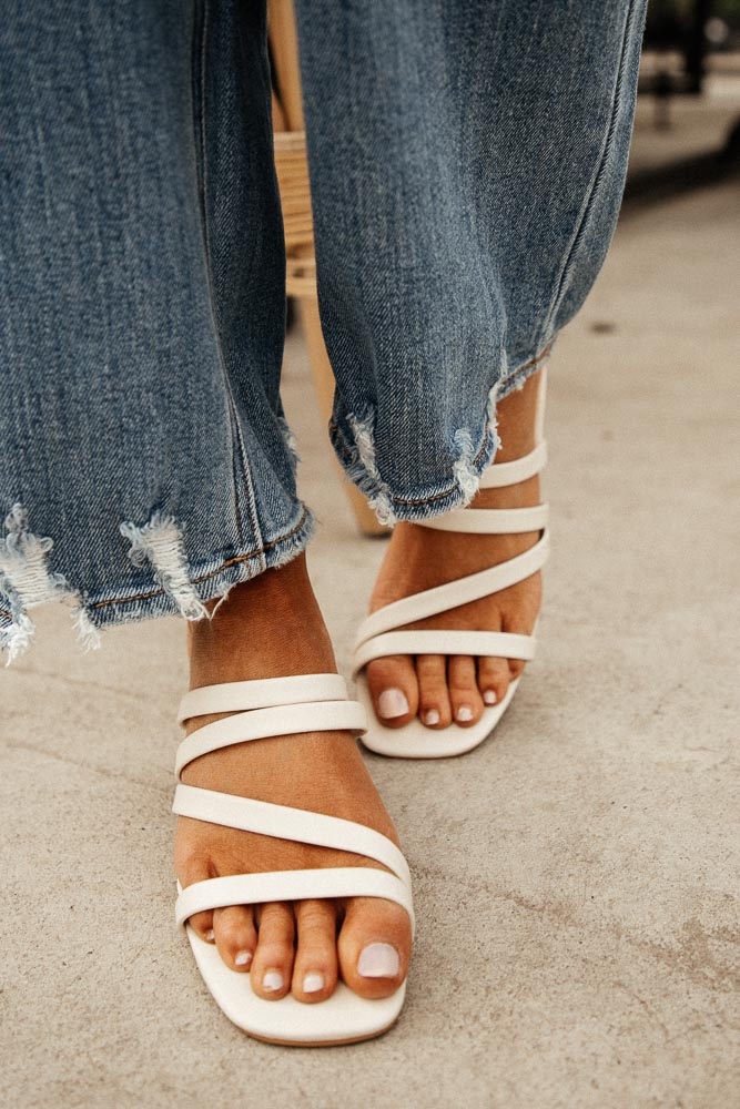 Belle Strappy Heels in Cream