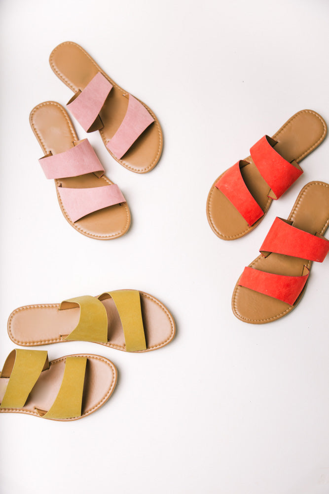 Aphrodite Double Strap Sandals in Orange