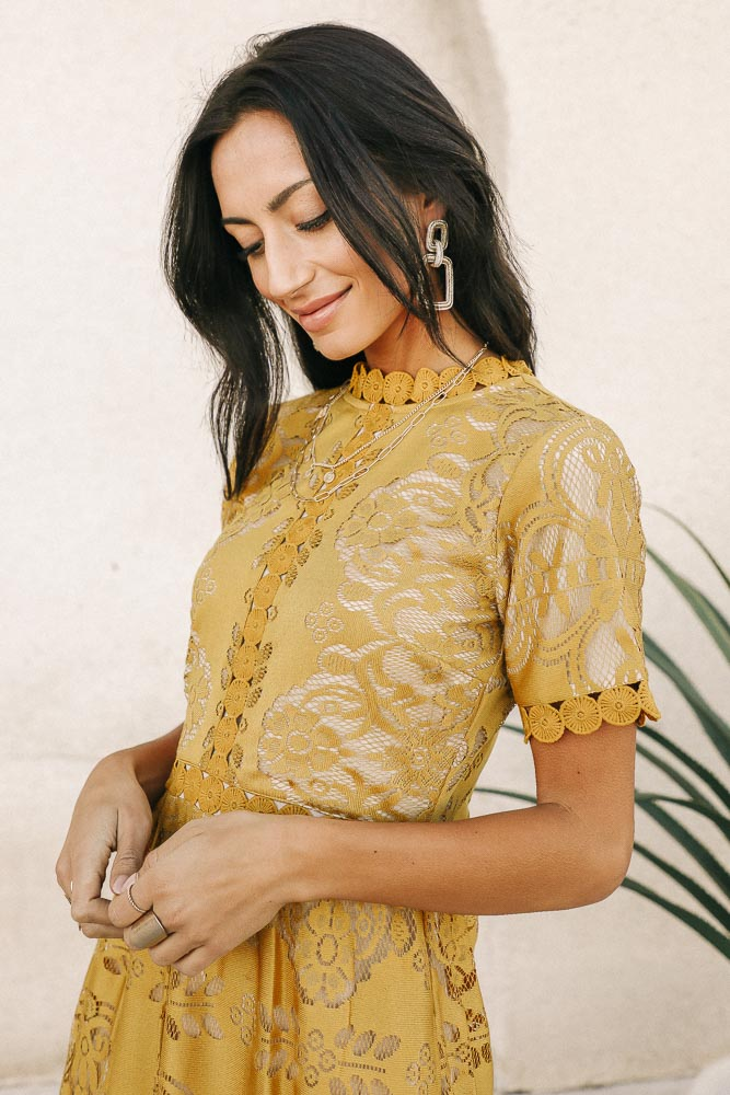 Grace Lace Dress in Mustard