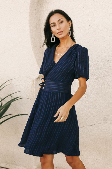 Gianna Wrap Dress in Navy-FINAL SALE