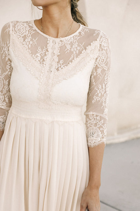 Heidi Lace Dress in Cream-  FINAL SALE