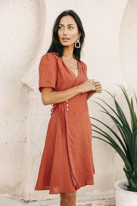 Gianna Wrap Dress in Rust-FINAL SALE