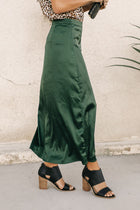Satin Faux Wrap Skirt in Emerald